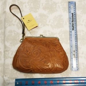 large leather coin purse